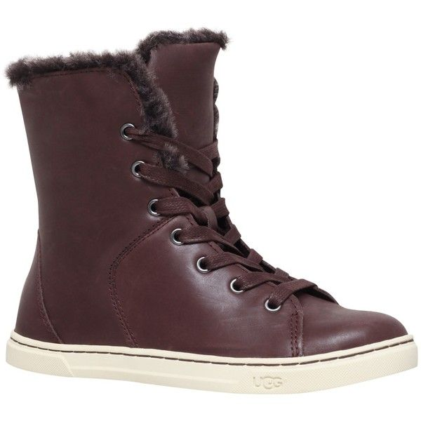 UGG Croft Lace Up High Top Trainers , Dark Brown (£130) ❤ liked on Polyvore featuring shoes, sneakers, dark brown, high top shoes, hi low tops, flat shoes, ugg sneakers and leather flat shoes
