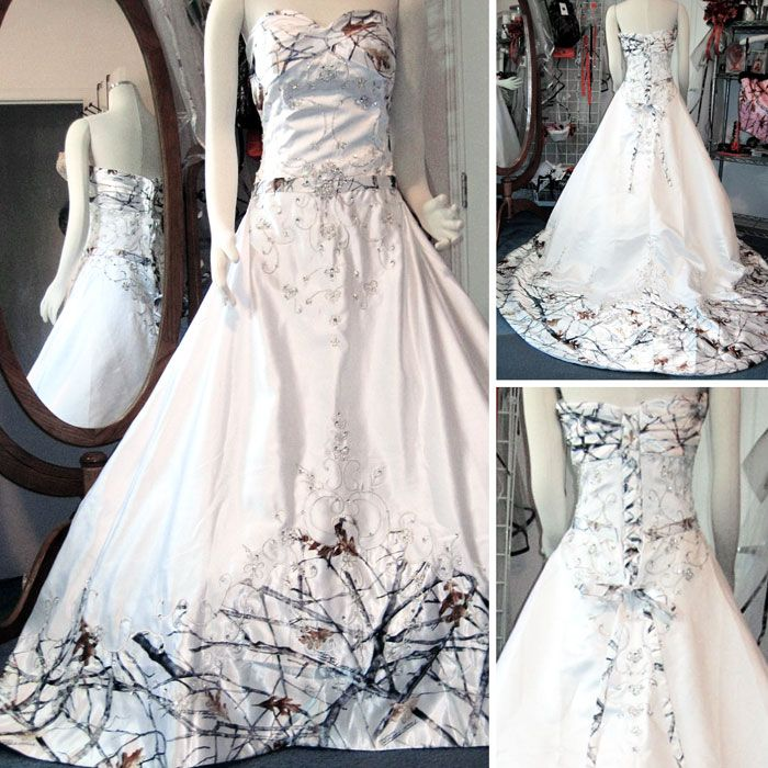 Classy Camo Wedding Ideas: Elegant White Camo Wedding Dress With Beading