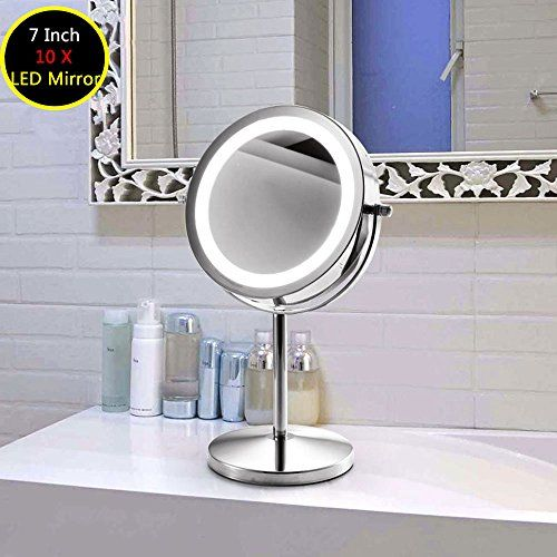Double Sided Lighted Makeup Mirror Polished Chrome Finish 6 Inch Battery Operated And 3x Magnifying Beauty Bathrooms Mirror With Led Lights Mirror With Lights
