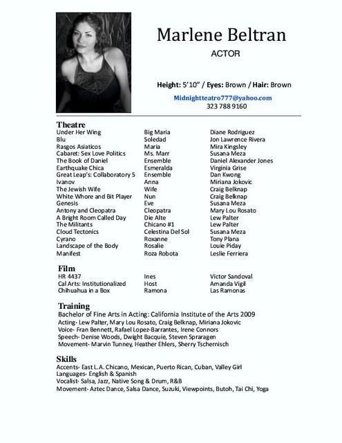 A good example of a womanu0027s acting resume Becoming A Thespian - special skills for acting resume