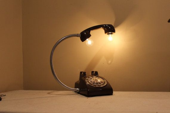 vintage black rotary phone lamp gooseneck desk lamp home office decor steampunk industrial. Black Bedroom Furniture Sets. Home Design Ideas