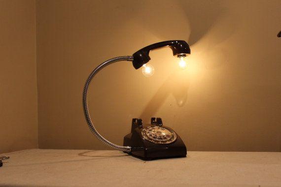 vintage black rotary phone lamp gooseneck desk lamp home office decor steampunk industrial. Black Bedroom Furniture Sets. Home Design Ideas