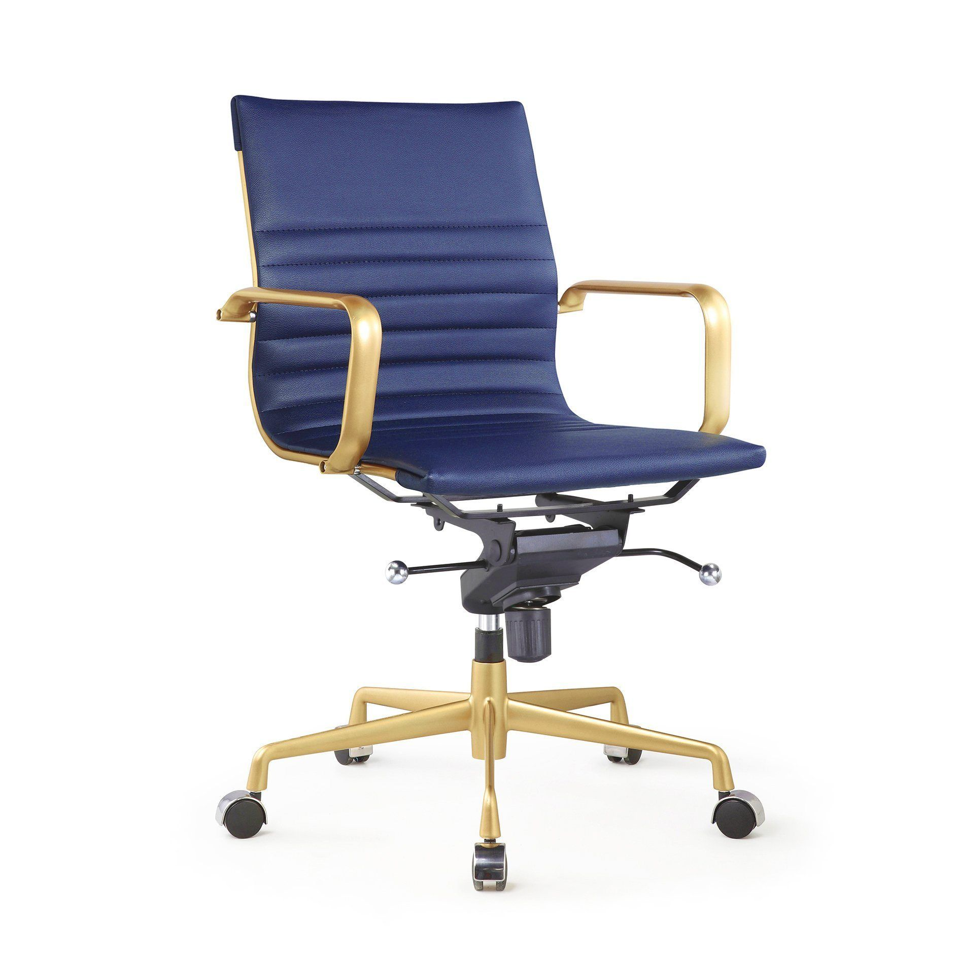 Fabulous Decade Navy Gold Modern Classic Aluminum Office Chair Set Ncnpc Chair Design For Home Ncnpcorg