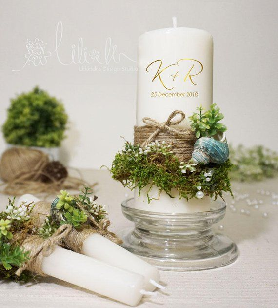 Beach Wedding Candle Ceremony: Unity Candle Set, Moss Wedding Candles, Enchanted Forest
