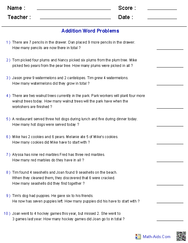 Addition Word Problems Dynamically created word problems using 1 – Fraction Word Problems 3rd Grade Worksheets