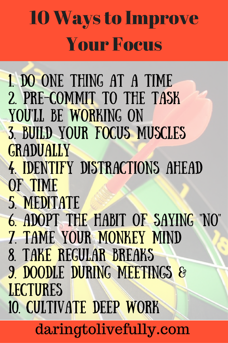 10 Ways To Improve Your Focus And Sharpen Your Attention Positive Inspiration Self Improvement Tips Executive Functioning Skills