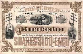 Commercial Telegram Co. 100 pref. shares à 100 $ 25.6.1884.