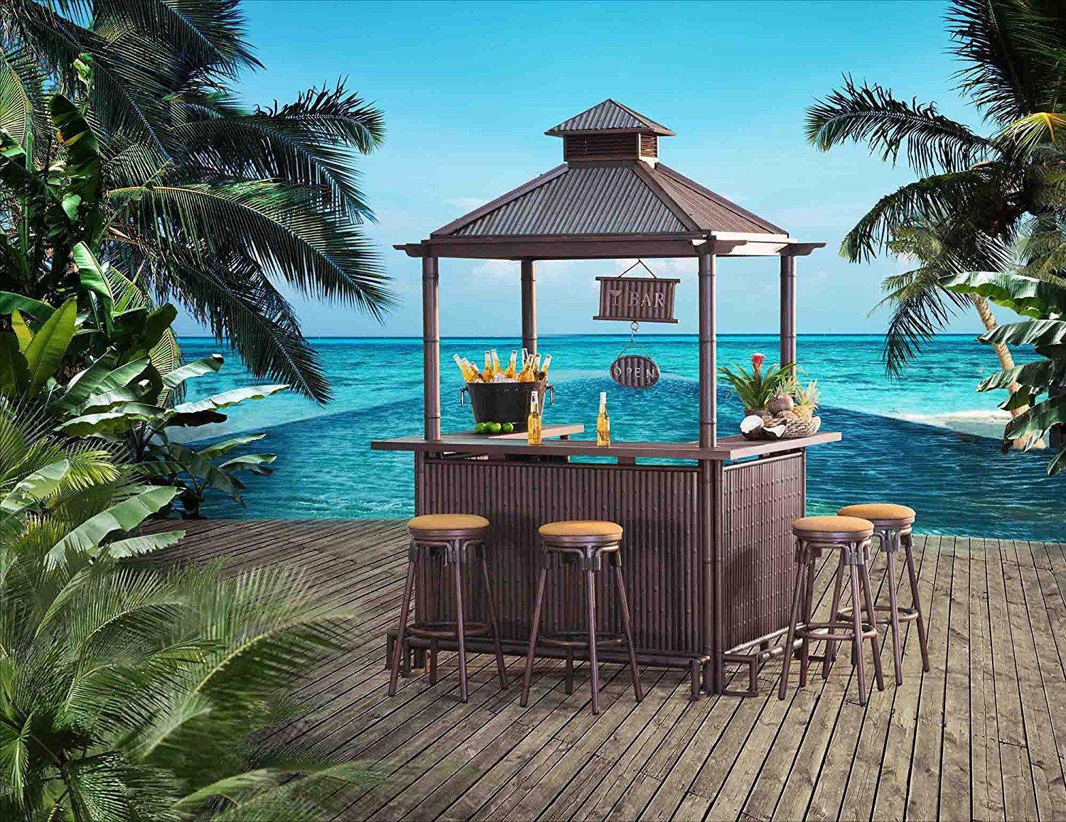 Sunjoy Tiki 74 4 X 56 1 107 Aluminum Bar Set Garden Outdoor