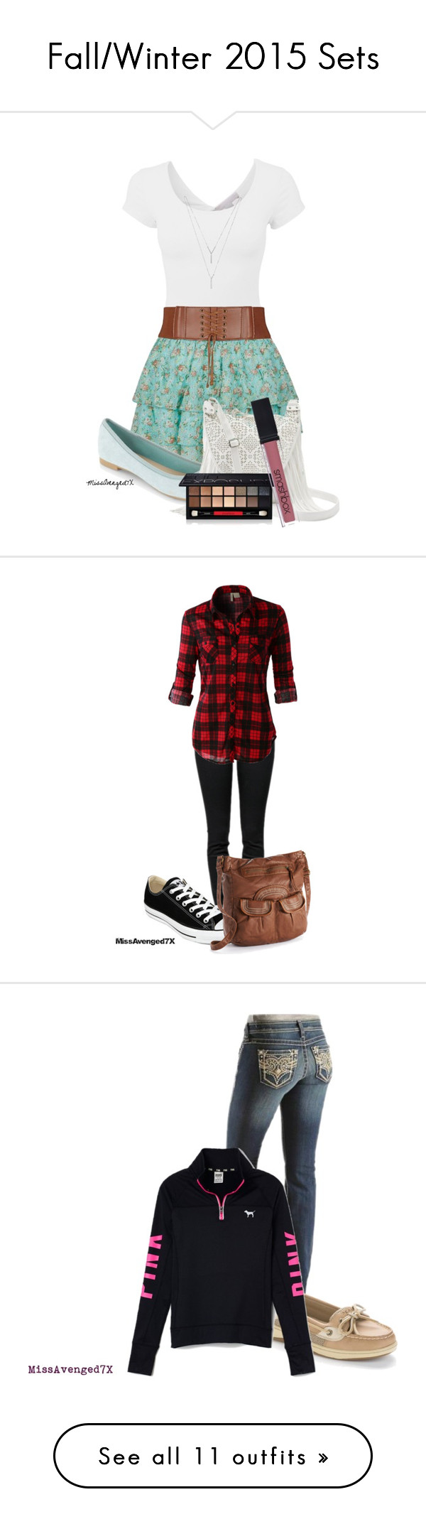 """""""Fall/Winter 2015 Sets"""" by missavenged7x ❤ liked on Polyvore featuring Candie's, BCBGeneration, Smashbox, Proenza Schouler, LE3NO, Converse, Mudd, Ariat, Sperry Top-Sider and Victoria's Secret PINK"""