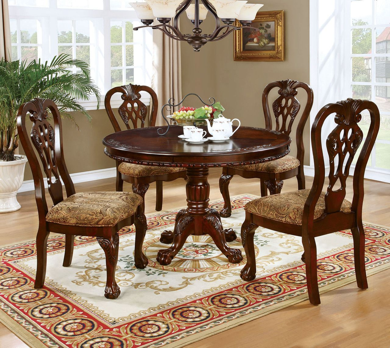 Lina 5 Piece Brown Cherry Round Table Set Round Dining Room Sets