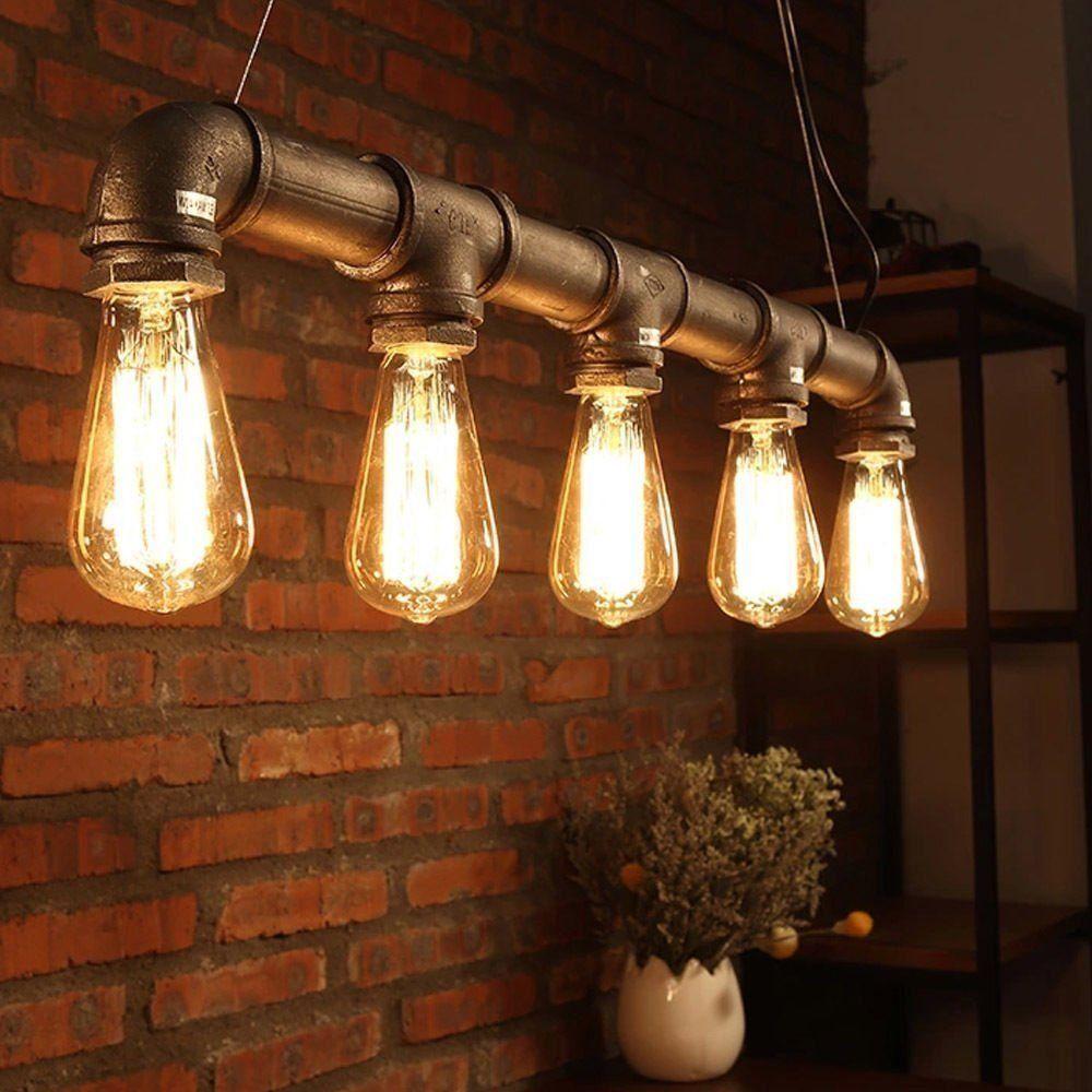 yuewei industrie loft h ngender weinlese deckenleuchte diy dekoration lampe e27 metal pipe. Black Bedroom Furniture Sets. Home Design Ideas