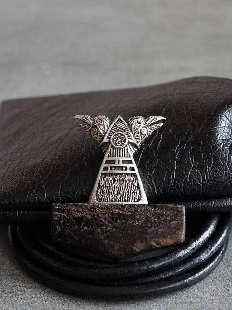 Norse Jewelry Petrified Wood Pendant Necklace Huginn Muninn Raven Necklace