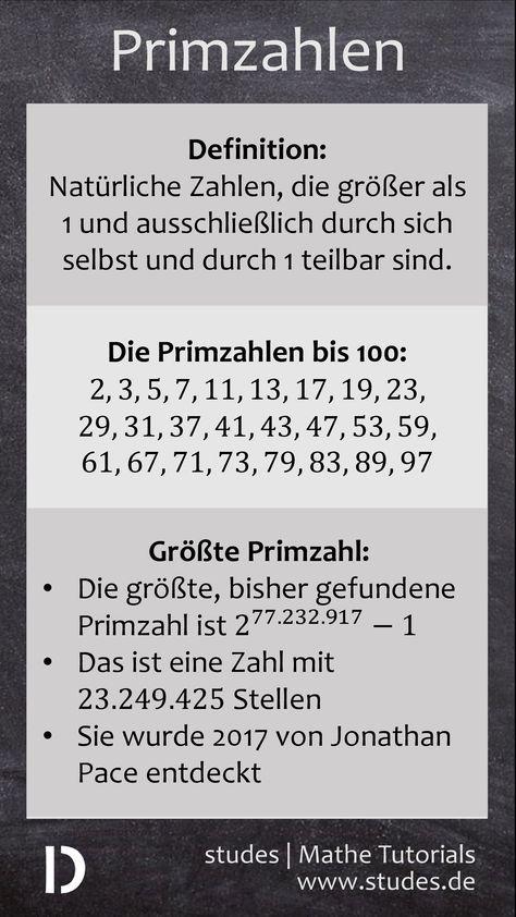 Primzahlen: Was ist eine Primzahl? / Primzahlen bis 100 / Die größte ...