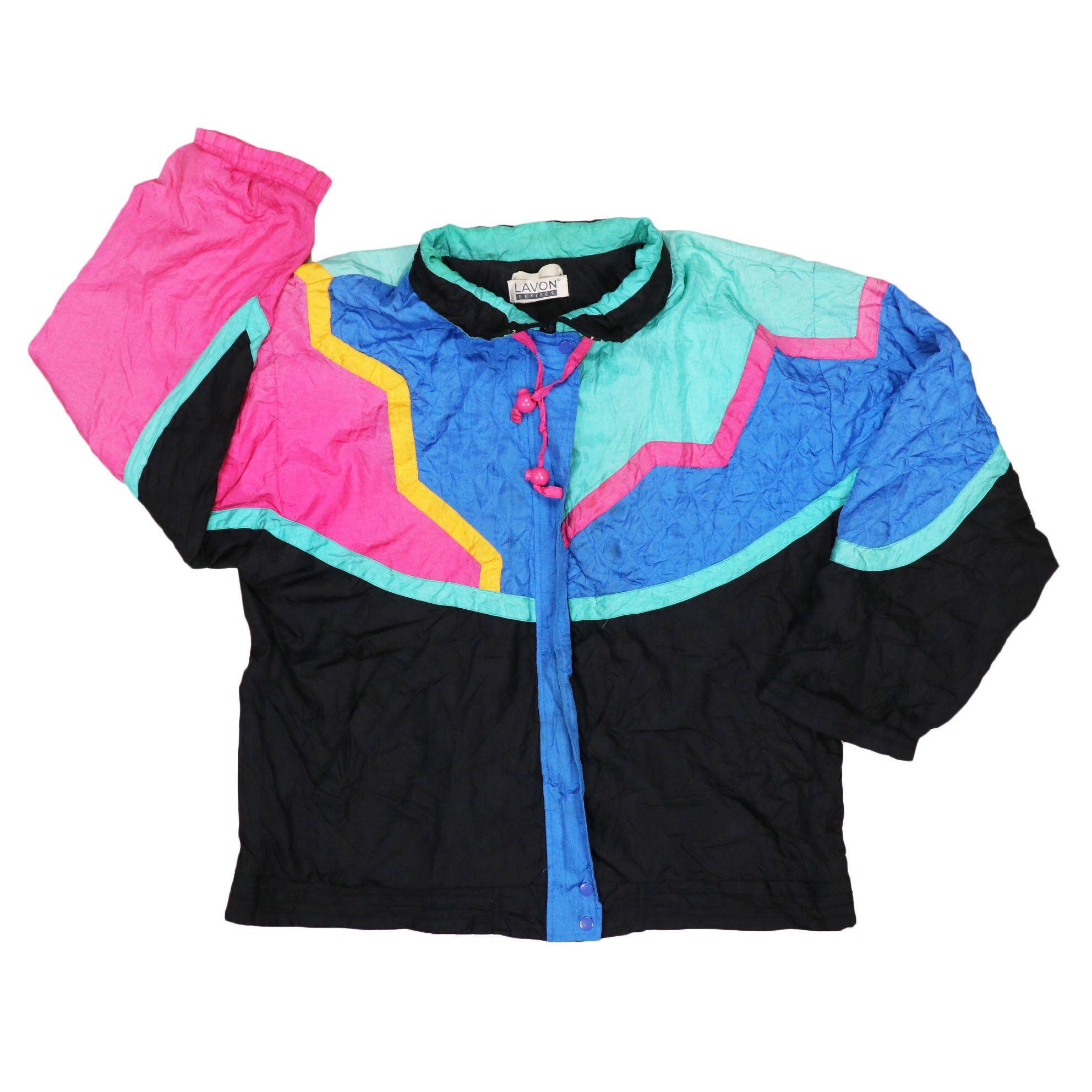 Vintage 80s multicolor bomber shell jacket windbreaker