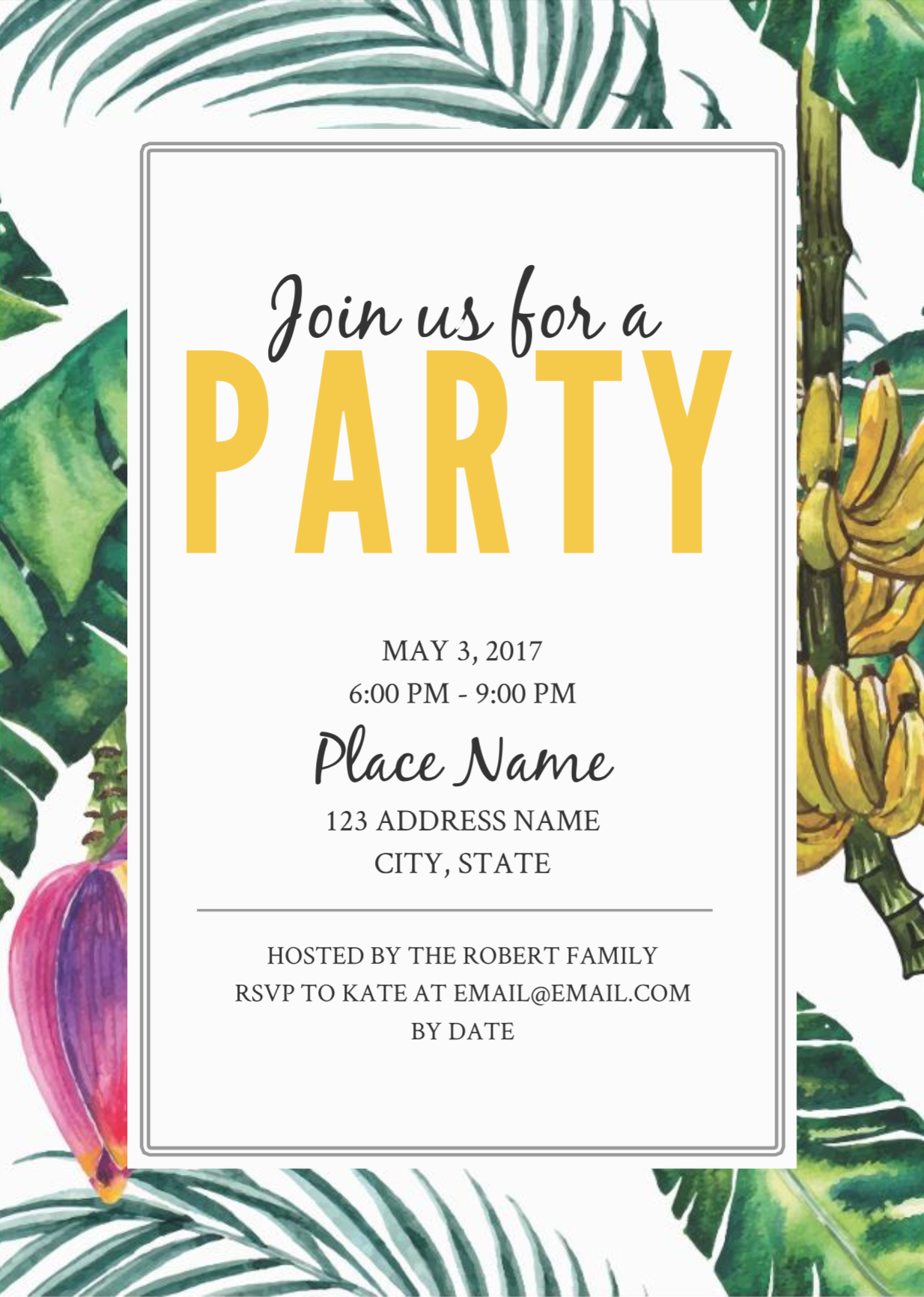 Jungle Party Birthday Invitation Template  Free party invitation