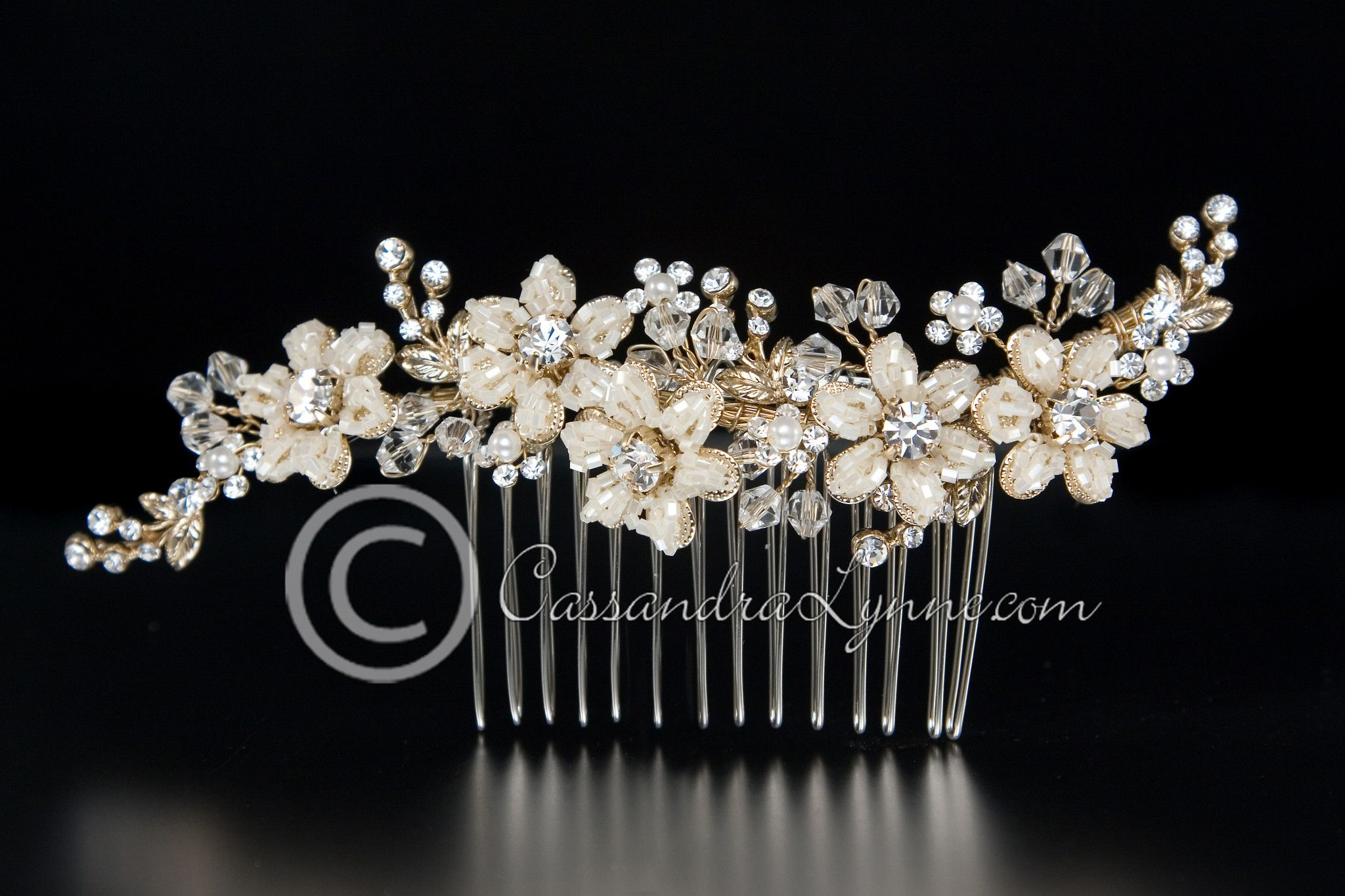 gold bridal hair comb of seed bead flowers and crystals | beaded