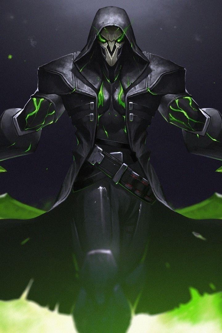 Green, reaper, overwatch, warrior, online game, 720x1280