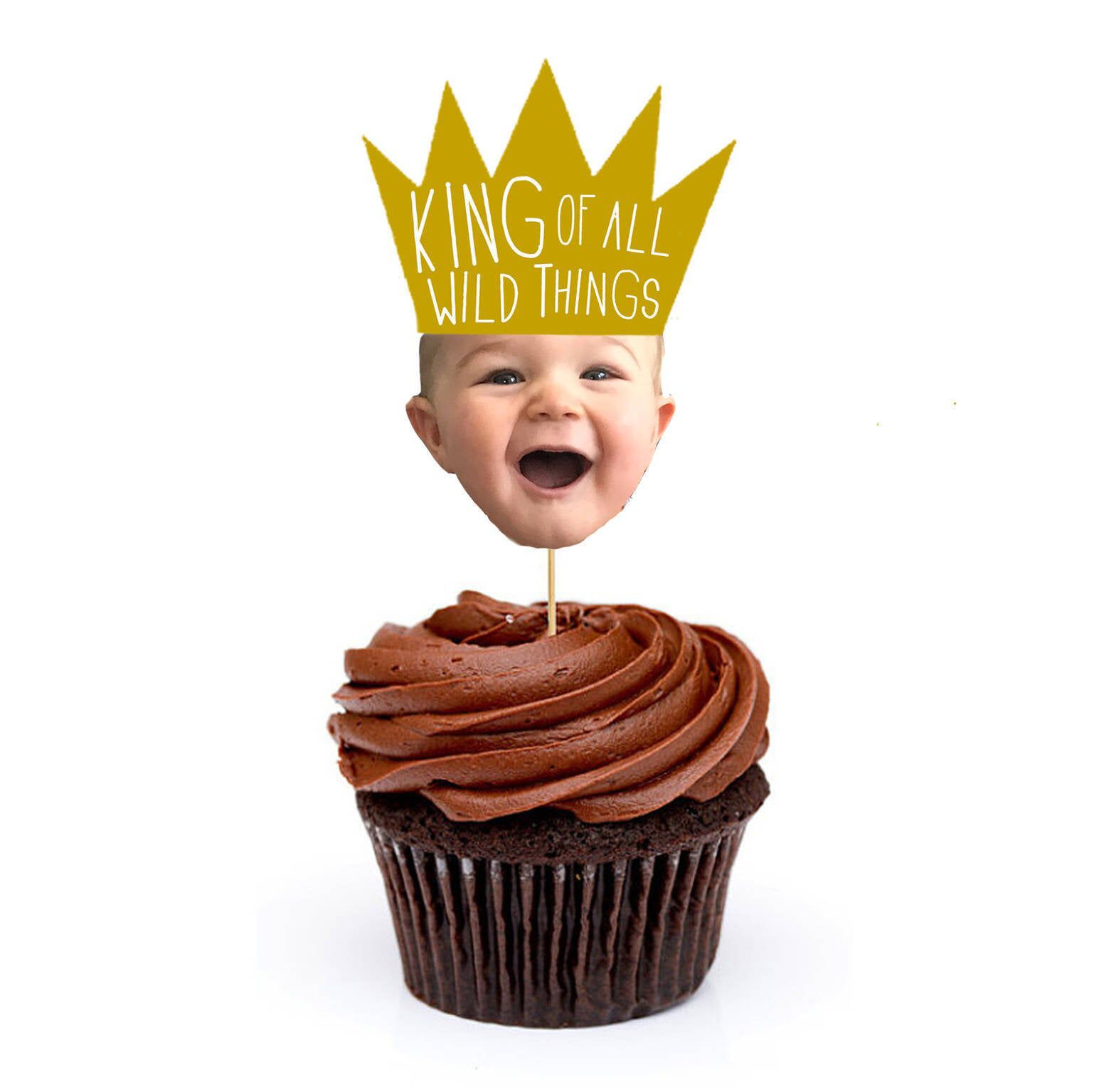 King of all wild things face cupcake toppers where the