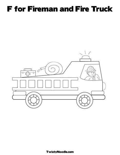 Preschool Fire Truck Coloring Page : preschool, truck, coloring, Fireman, Truck, Coloring, Pages,, Firetruck, Birthday,, Pages