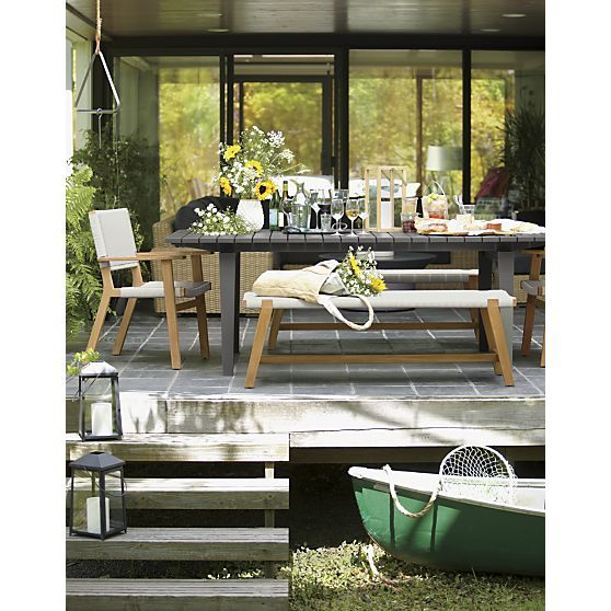 Montague Dining Table Darwin Chair And Bench I Crate And Barrel Patio Furniture Pillows Outdoor Furniture Sets Outdoor Dining