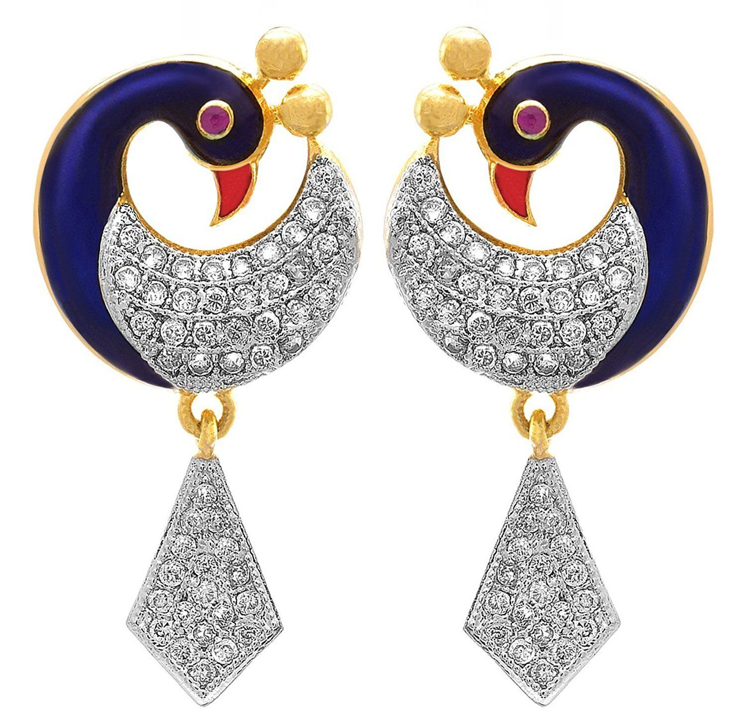 d05fca96b JFL- FUSION ETHNIC ONE GRAM GOLD PLATED MEENAKARI ENAMEL PEACOCK CZ  AMERICAN DIAMOND WITH RED / GOLD CREST DESIGNER EARRINGS FOR WOMEN & GIRLS.