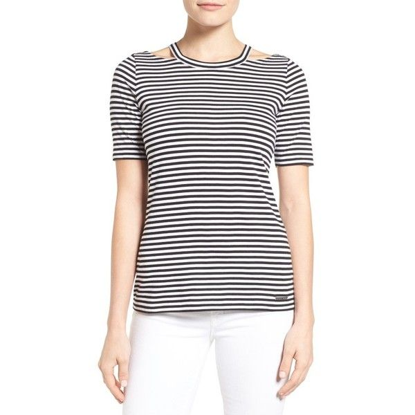 f42f3e43571460 Women s Michael Michael Kors Stripe Detached Neck Tee ( 48) ❤ liked on  Polyvore featuring