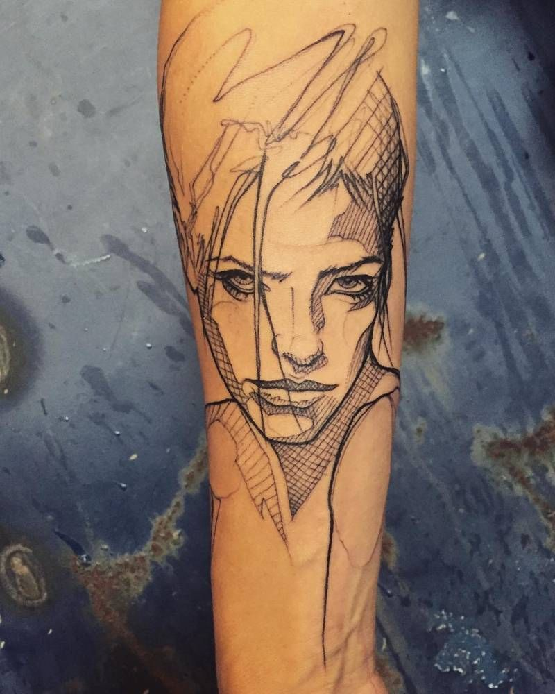 Tattoo Woman Portrait: Sketch Work Style Woman Portrait Tattoo On The Right Inner