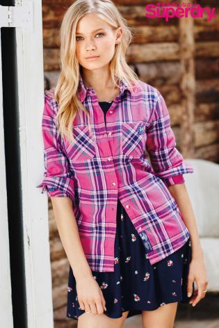 Buy Superdry Pink Check Shirt from the Next UK online shop | LC ...