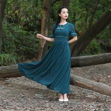 Mulheres vestido de verão vestido verde esmeralda colocar em um grande vestido de chiffon pescoço bordado elegante art N112(China (Mainland))