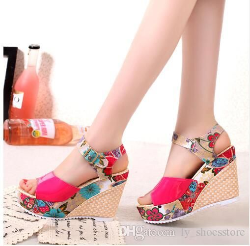 d7e7d0605b0c19 2018 Women Sandals Summer Platform Wedges Casual Shoes Woman Floral Super  High Heels Open Toe Slippers Sandalias Zapatos Mujer Sandels Sparx Sandals  From ...