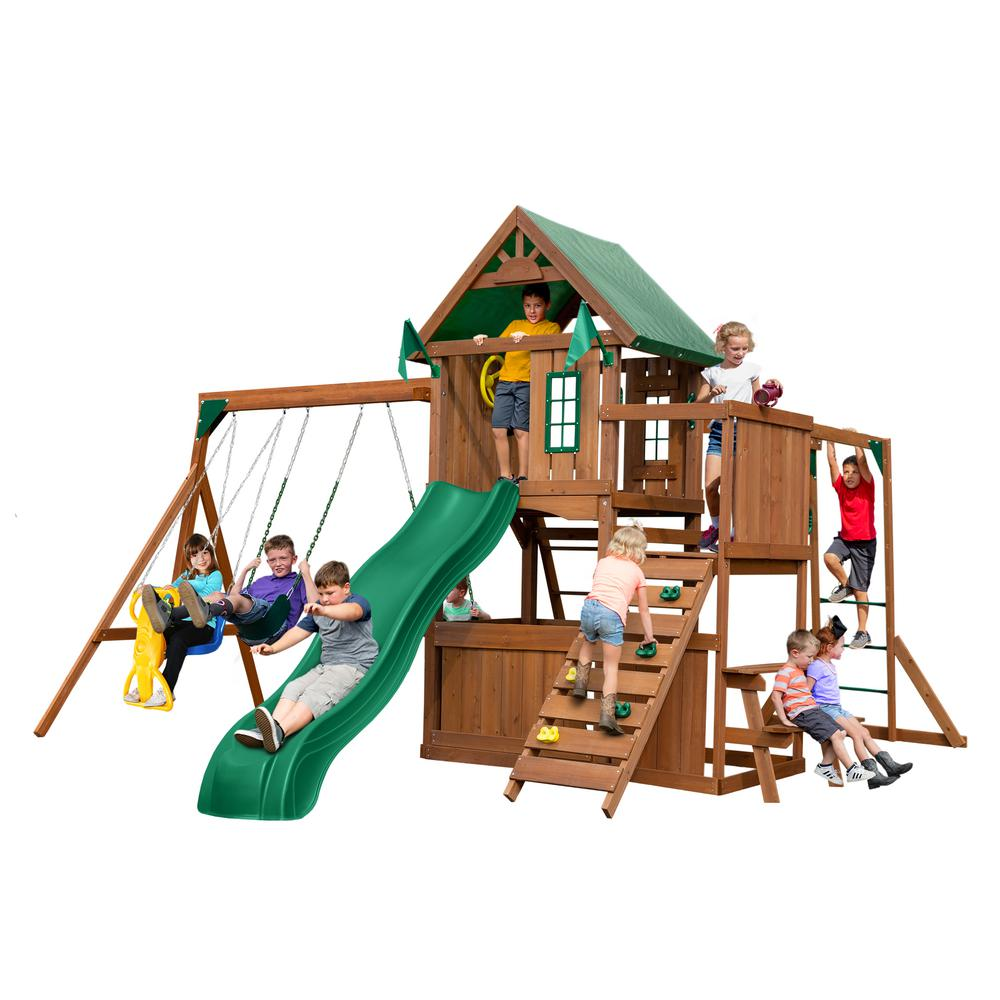 Swing N Slide Playsets Knightsbridge Plus Wood Complete Swing Set With Monkey Bars Ws 8351 The Home Depot In 2020 Swing And Slide Swing Set Monkey Bars