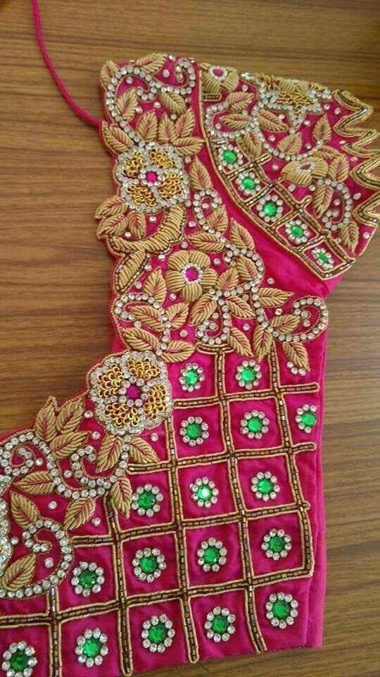 Bridal hand embroidery zardosi work blouse design