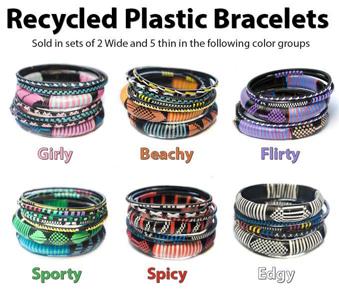 Recycled Plastic Bag Bracelets Color