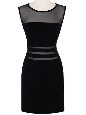 60308b431e4f Vestido entallado combinado transparencias-Negro EUR€16.86 ...
