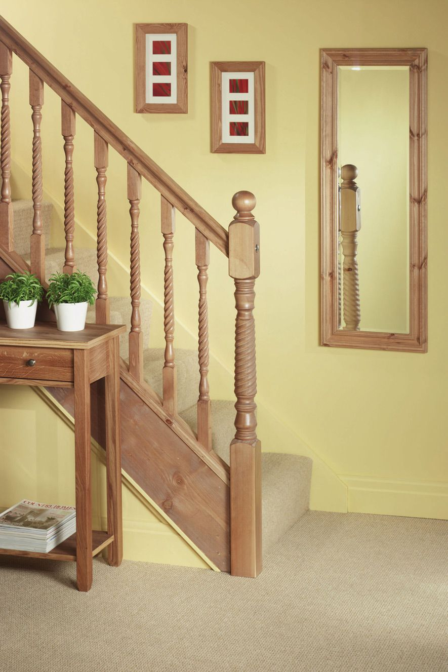 Best Staircase With Pine Barley Twist Newel Post And Spindle 400 x 300