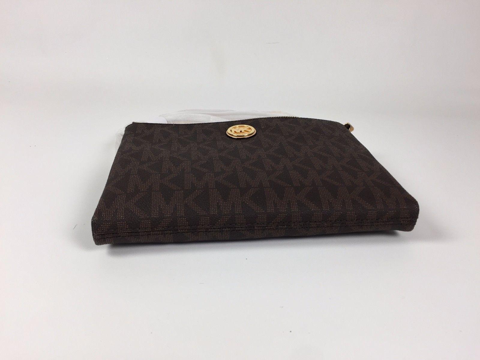 fb6dc2dbd967 NWT Michael Kors Brown Crossbody PVC Handbag MK Signature Messenger Bag   118.0