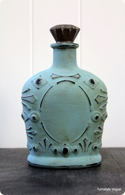 Turn a crown royal bottle into decor! The lady that made this first did a metallic bronze spray paint then 2 coats of the turquoise and then distressed with sandpaper