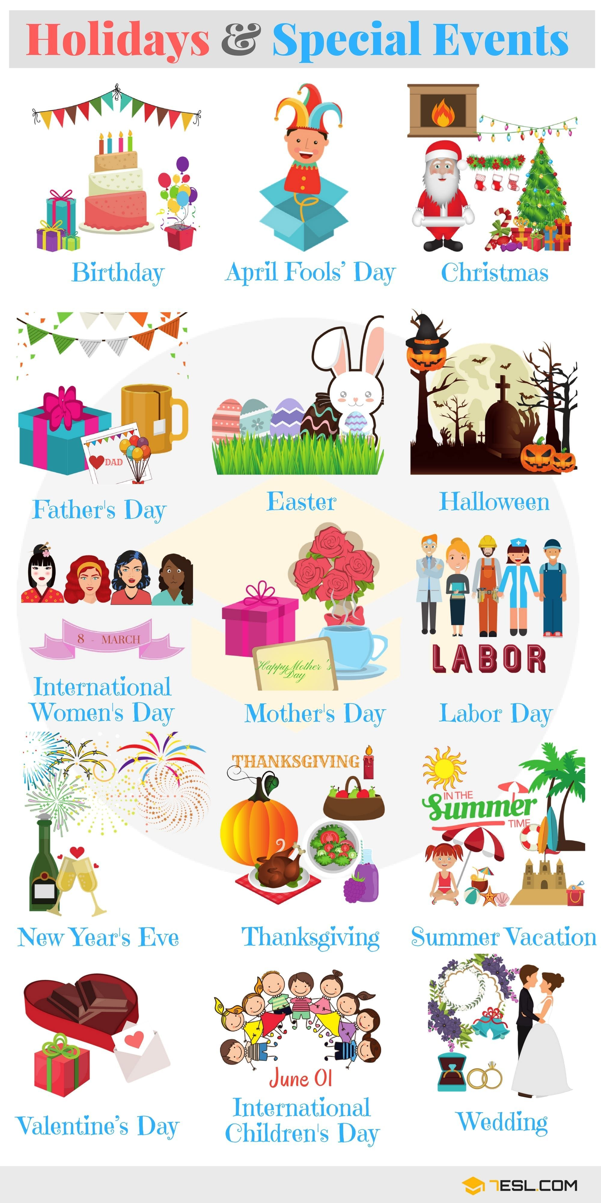 0shares Learn Holidays And Special Events Vocabulary In