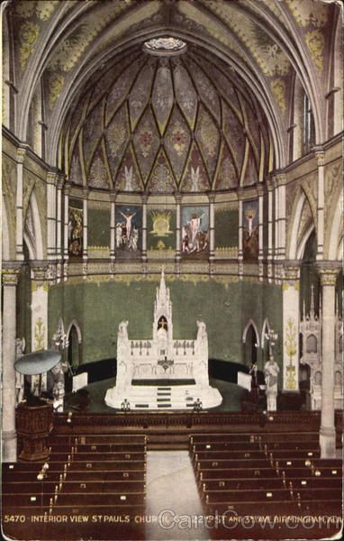 St. Paul's Cathedral, Birmingham, Ala, prior to modernization in 1972. High altar, communion rails, side altars, murals, and pulpit removed. Recently some attempt has been made to restore the colour scheme. Alas, the marble altars and murals were destroyed.