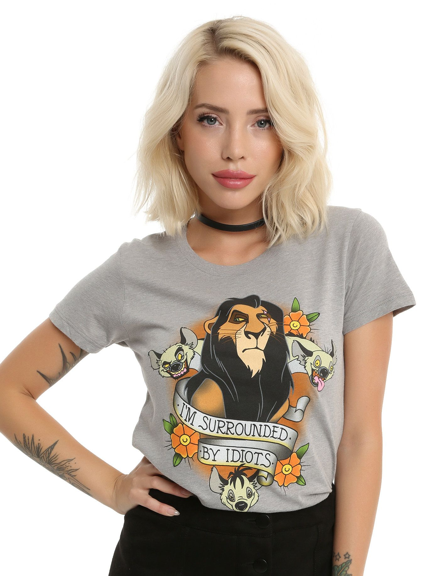 Disney The Lion King Scar Surrounded By Idiots Girls T Shirt Girls Tshirts Cool Girl Outfits Clothes [ 1836 x 1360 Pixel ]