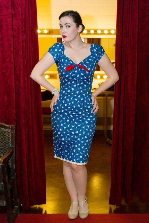 Das Glück BB dress bluebirds   Jurken   Miss Vintage   Retro, vintage geïnspireerde dames kleding
