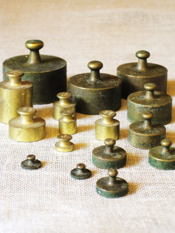Antique Brass Scale Weights Scale Weight Set Of By Wilshepherd 95 00 Weight Scale Vintage Scale Antiques