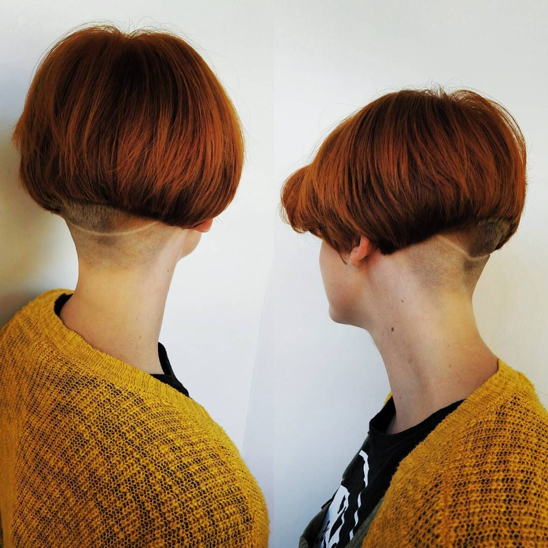 A rather extreme buzzed undercut for this bob hair undercuts