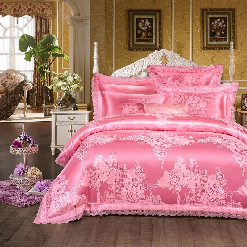 French Pink Girls Castle And Flower Pattern Princess Style Sparkly Feminine Feel Luxury Jacquard Satin Full Queen Size Bedding Sets Pink Bedding Set Bedding Sets Apartment Bedding
