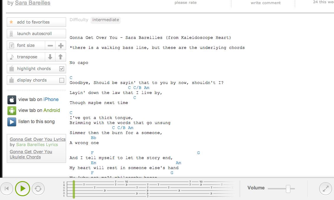 Gonna Get Over You Ukulele Chords by Sara Bareilles @ Ultimate ...