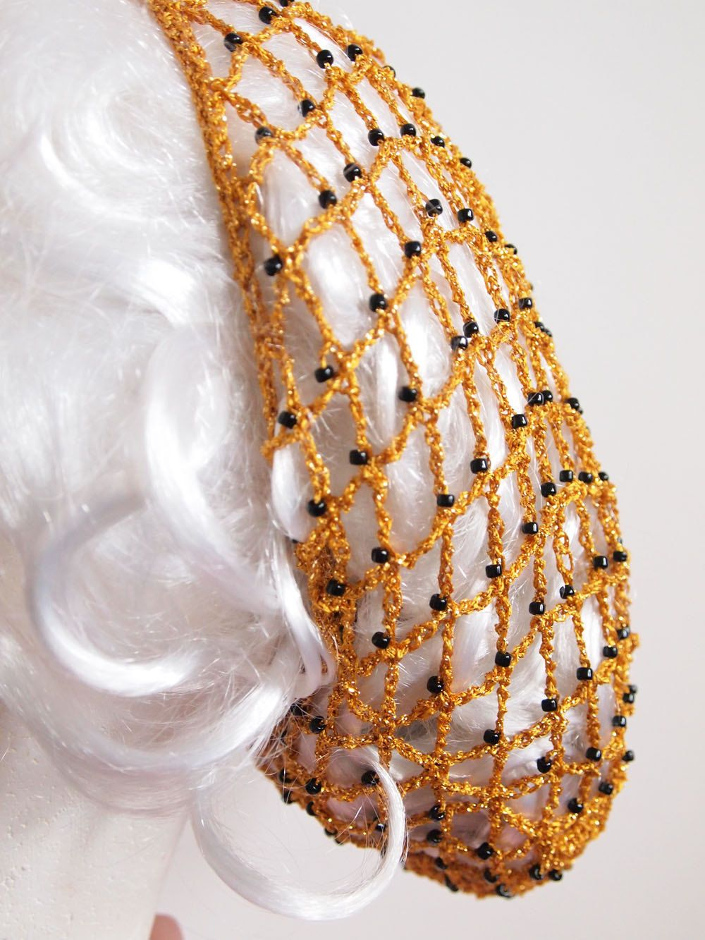 Hairnet Snood 1940s Style Crochet In Gold With Black Beads Gold Lam� Snood