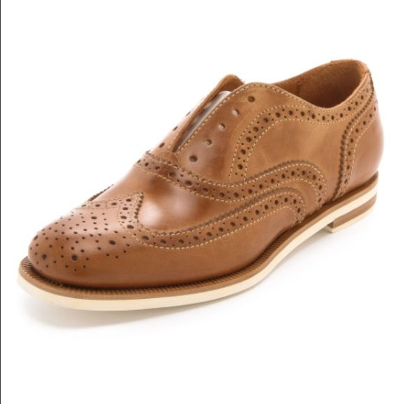 Rag & Bone Brogue No Lace Oxford Shoes Lt. Brown Rag & Bone Womens Brogue No Lace Oxford Shoes Lt. Brown Leather 38.5 / 8.5 $495. Only worn 3x. Fabulous pair of light brown leather no lace baroque oxfords from rag & bone.  stacked heel and rubber sole.  No trades - price firm.  Retailed for $495 - sold out! Made in Italy Size 38.5 / 8.5 Thanks for looking!! rag & bone Shoes Flats & Loafers
