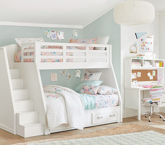 Belden Twin Over Full Stair Loft Bed Bed For Girls Room Bunk Bed Designs Girls Bunk Beds