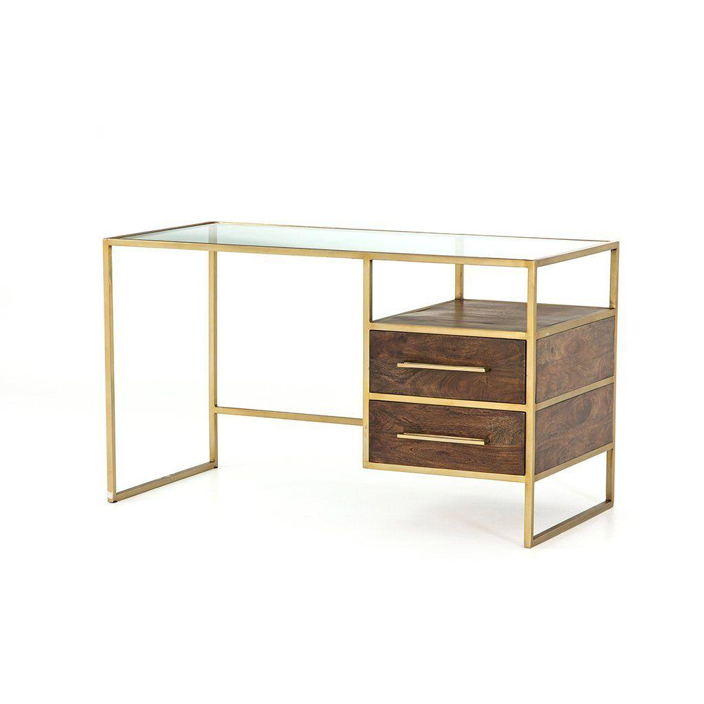 Riverside Desk Aged Brass Modern Glass Top Desk Glass Top Desk Contemporary Office Desk
