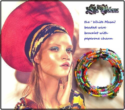 MASAI bianca perline bracciale extra lungo filo Peprone